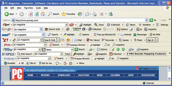 a browser with too much toolbars